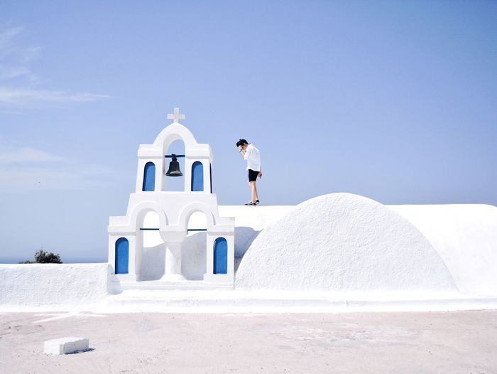 Santorini lover EyeEm Best Shots EyeEm Selects Eye4photography  TheWeekOnEyeEM The Week Of Eyeem The Week on EyeEm Travel Travel Destinations Destination Vacations Postcard Greek Islands Santorini Island Santorini, Greece Santorini Sky Nature Day Full Length Religion Men #FREIHEITBERLIN Architecture Place Of Worship Standing Outdoors White Color