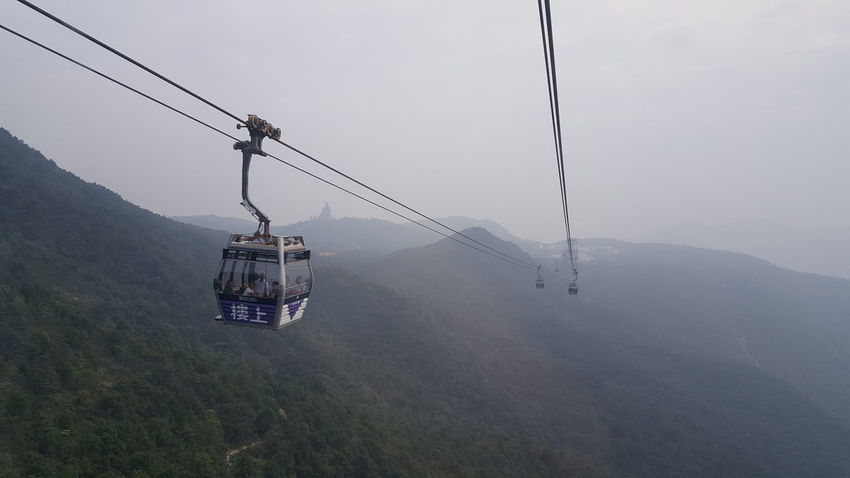 relax❤ Ski Lift Overhead Cable Car Water Oil Pump Fog Mountain Hanging Cable Sky Weather Foggy