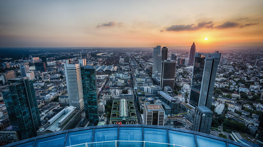 Aerial view of frankfurt during sunset
