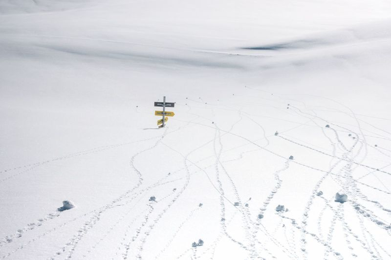Where do we go?... Directions White Space Snow Men Land Nature Snow Cold Temperature Winter Transportation Travel Outdoors Scenics - Nature Environment Adventure High Angle View Winter Sport Exploration