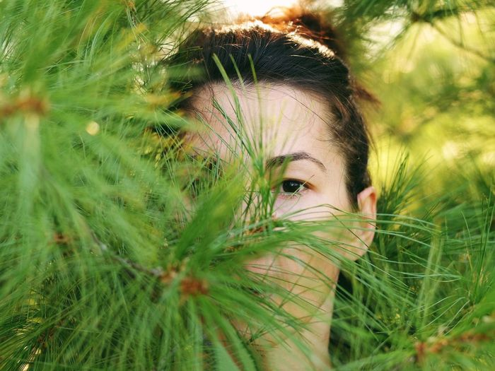 Close-Up Portrait Of Woman Hiding In Tree Branches