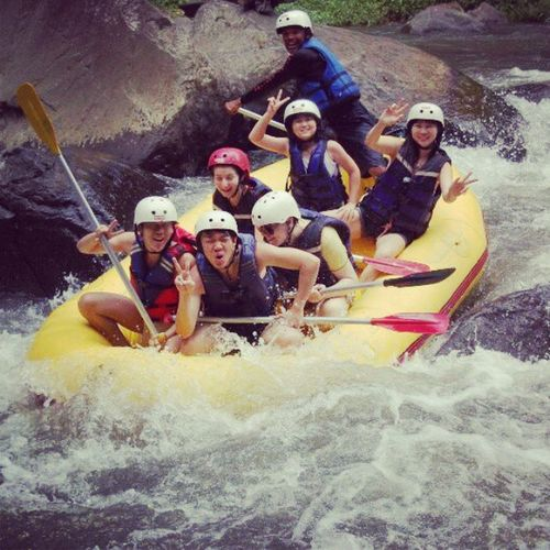2.5 duration. Its really wild and exicting. Recommend u guys to try. No Fear! Rafting Exicting dangerous Bali Indonesia hot wave river cousins
