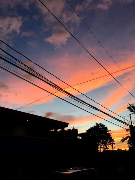 Can you see the moon? ♥️ Sky Clouds Cloud Relaxing Colorful Reflection Sunset Cable Sky Silhouette Connection Power Line  Cloud - Sky Nature Outdoors Low Angle View Beauty In Nature Telephone Line Electricity Pylon No People EyeEm Ready