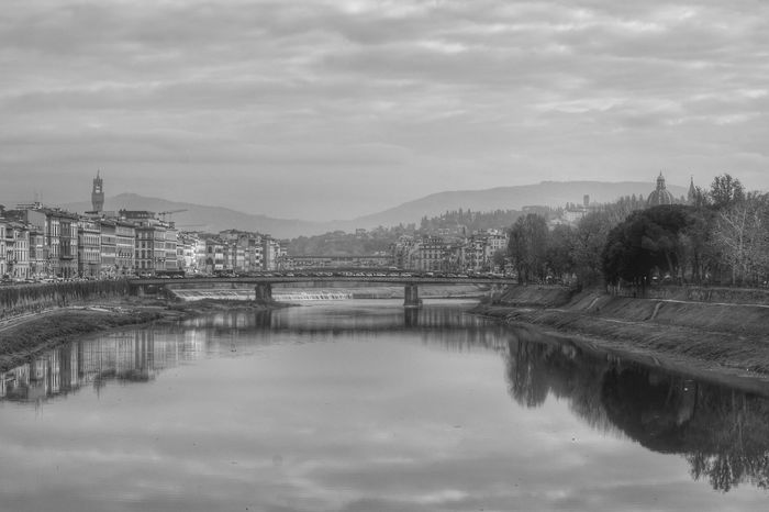 View Of Florence Black & White Black And White Monochrome Lights And Shadows Shadows & Lights Firenze Florence Italy The Best City In The World River Arno River View Riverside View From A Bridge Atmospheric Water Reflection Water No People Tree Outdoors Sky Landscape Scenics Nature Beauty In Nature Day Shades Of Winter