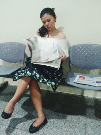 Waiting Game Me Sitting Adults Only One Woman Only Young Adult Newspaper Variation Hospital Visit