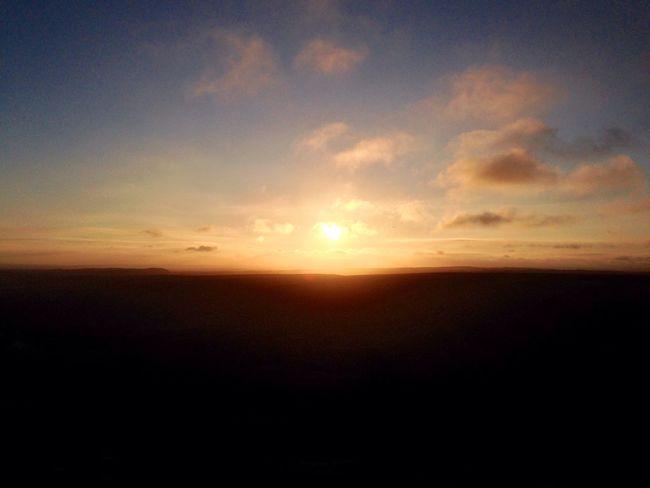 Sunset Sun Sunlight Evening Landscape Horcum Dyke Romantic Beautiful Nature Sillouette Clouds And Sky Clouds Blue Sky