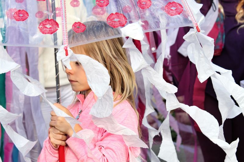 Girl Umbrella Holding Outfit Carneval Childhood Blonde Day Homemade Costume Dressing Up Jellyfish Portrait
