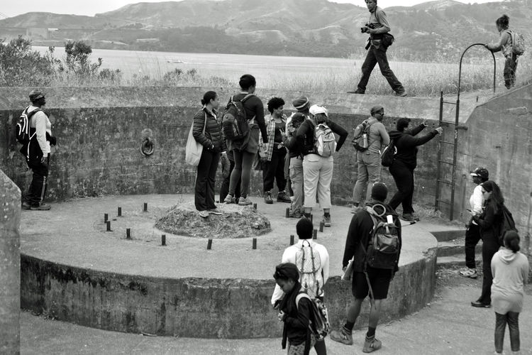People at historic war monument