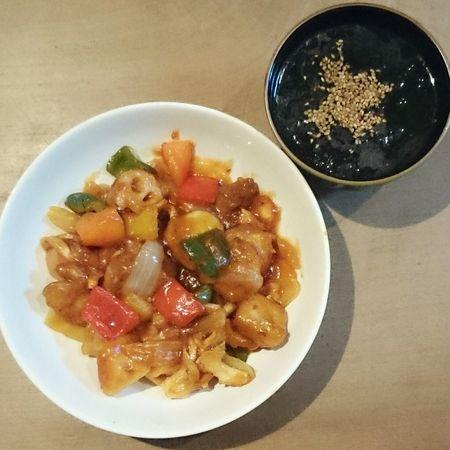 今日の我が家の晩御飯シリーズ 酢豚 わかめスープ