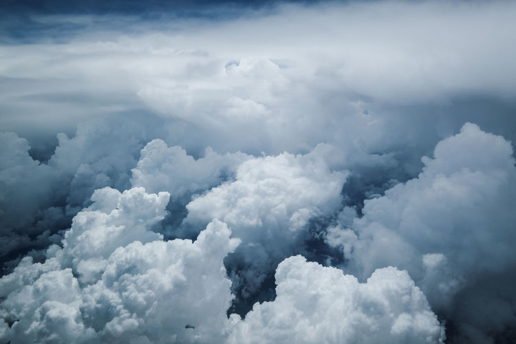Backgrounds Beauty In Nature Blue Cloud - Sky Cloudscape Day Fluffy Full Frame Idyllic Low Angle View Nature No People Outdoors Scenics - Nature Sky Softness Tranquil Scene Tranquility White Color
