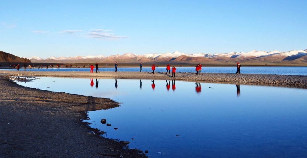 The Great Outdoors - 2016 EyeEm Awards pilgrims on the Namtso lake in Tibet Tibet Tibetan  Tibetan Buddhism Pilgrimage Lake Lake View Lakeshore Lakeside Reflection Nature Landscape Trip Traveling Travel Tranquility Free Freedom