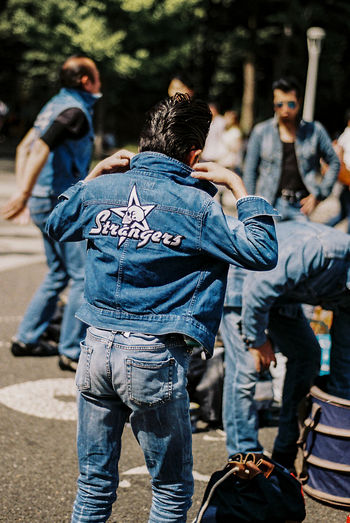 #urbanana: The Urban Playground 35mm Film Analogue Photography Japan Rockabilly Tokyo Casual Clothing City Day Focus On Foreground Group Of People Jeans Lifestyles People Real People Street Streetphotography Togetherness Yoyogi Park