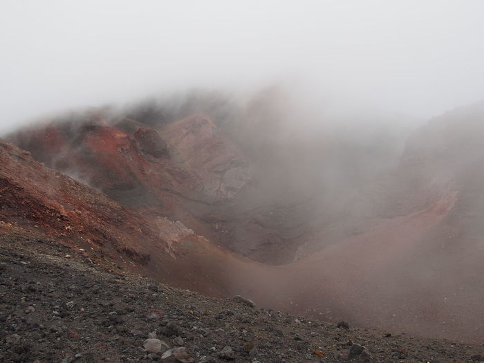View of volcano in foggy weather
