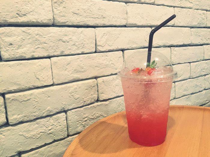 Drinking Straw Red Drink Brick Wall Refreshment Freshness Healthy Eating Food And Drink Table Drinking Glass Indoors  Day Ready-to-eat