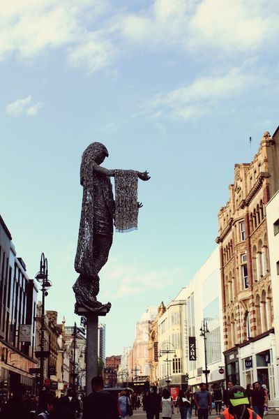 City Middle Of The City City Photography City People Statue Statue In The City Focus On Art Blue Sky Art Photography Statue Of A Woman Leedslife Leeds City Centre