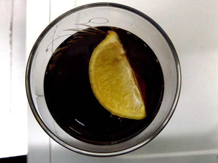 Black & Yellow. Soda Lemon Lemon Slice Fruit Coca-Cola ❤ Obey Your Thirst.. Freshness Fresh Drink Yellow Contrast From My Point Of View Glass Glass - Material