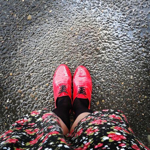 Watter Reflection Redandblack Floraldress Oxford Shoes