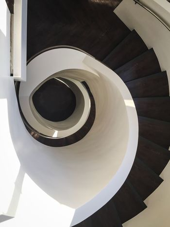Swirl Stairs Spiral Indoors  High Angle View Spiral Staircase Steps Staircase Railing Modern Architecture Glendale First Eyeem Photo