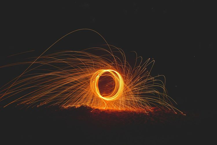 View of wire wool spinning at night