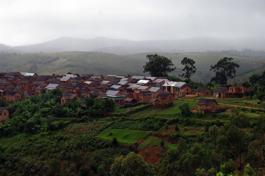Small village Antsahabeest in the Malagasy highlands Anjozorobe Architecture Backpacking Beauty In Nature Building Exterior Built Structure Day Discovering Fog Hill House Landscape Madagascar  Madagascar Nature Mountain Nature No People Outdoors Sky Tranquility Travel Tree Trekking