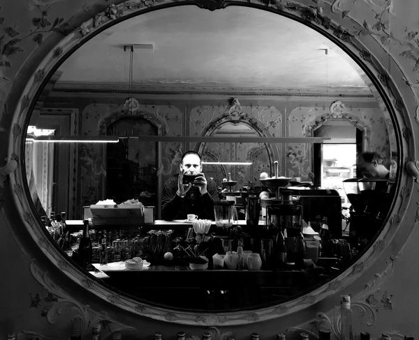 Man Activity Architecture Blackandwhite Glass - Material Indoors  Lifestyles Men Mirror Monochrome One Person Photographer Photographing Photography Themes Portrait Real People Reflection Selfie Standing Store Transparent Venice Window