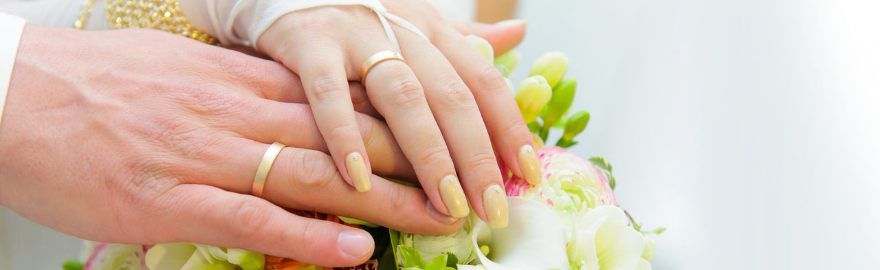 Bouquet Bride Groom Flowers Wedding Hands Couple Two Rings Love Golden Manicure Fingers Nails Bridal Celebration Event Holiday Marriage  Engagement Detail Fiancee Woman Man Wife Husband Accessories Closeup Beautiful Beauty Fashion Ceremony Celebrate Romantic Romance Flora Happiness Colorful Bloom Decoration Leaf Marry Symbol Panoramic Panorama Horizontal Banner Background Header Copy Space