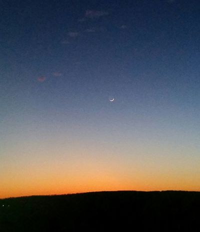 Whispy Clouds Missouri Ozarks United States Moon Nature Scenics Beauty In Nature Astronomy Tranquil Scene Sunset Night Sky No People Crescent Outdoors Galaxy Space Clear Sky