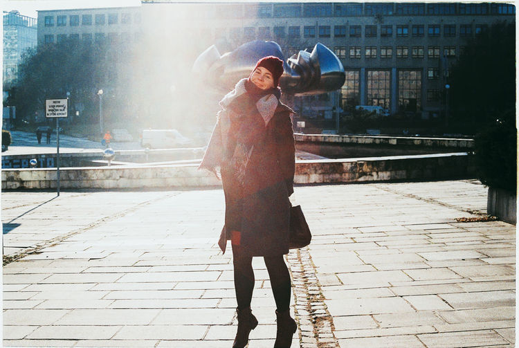 Analogue Photography Beauty City City Cold Day Fashion Film Jump Leisure Activity Lens Flare Light And Shadow Namestie Slobody Outdoors Portrait Of A Woman Retro Smile Socialism Street Streetphotography Sunlight Winter Winter Woman