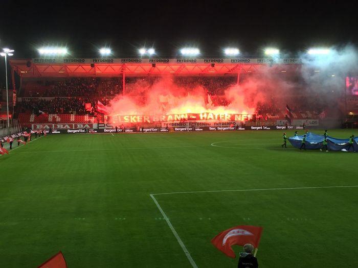 Eliteserien Brann Lillestrøm Football EliteSeries Bergen,Norway Norway🇳🇴 Sport Night Grass Soccer Team Sport Illuminated Crowd