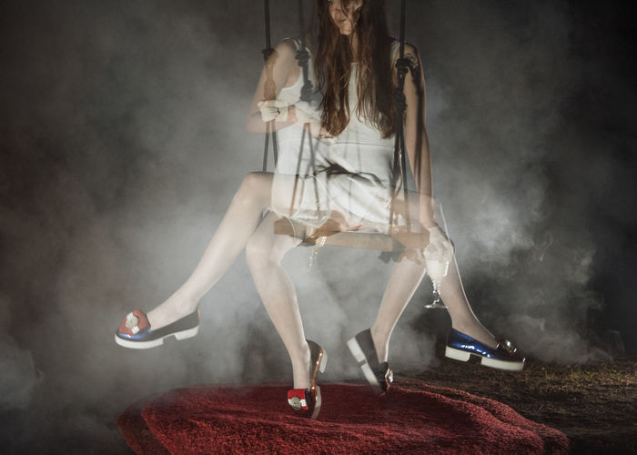 Duality Double Exposure Fashion Linas Was Here Long Legs Mystic Smoke White Dress Brunette Fog Night Red Carpet Shoes Swings