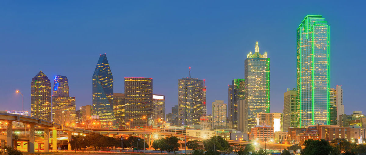 Downtown Dallas, Texas, USA Cityscape Dallas Downtown Financial District  Skyscrapers Texas Architecture Blue Building Exterior Buildings Built Structure City Cityscape Clear Sky Downtown District Illuminated Modern Night No People Outdoors Sky Skyscraper Tall - High Travel Destinations Urban Skyline