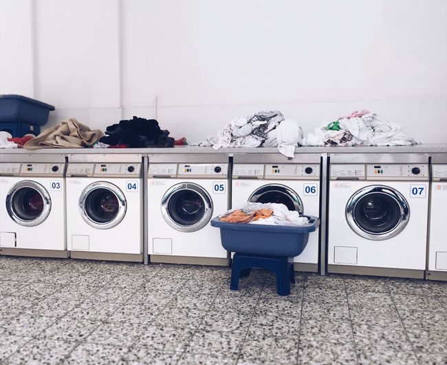 Laundry in laundromat