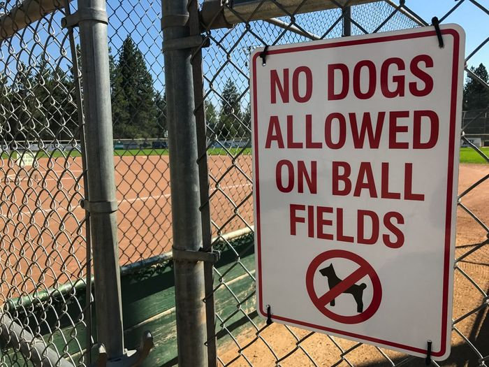 No Dogs Allowed Sign at the Truckee  BallPark . Signs Signage SignSignEverywhereASign Information Sign Warning Sign Text Park