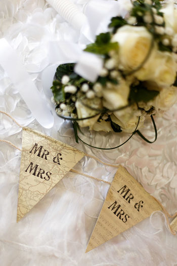 Ceremony Detail Love Marriage  Mrandmrs No People Paper Romantic Selective Focus Still Life Wedding White