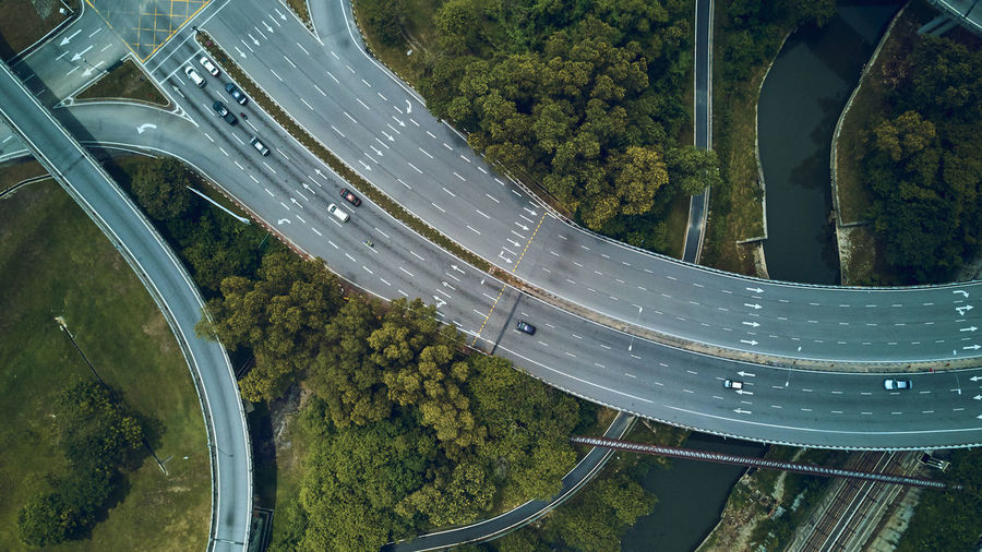 High angle view of elevated road amidst trees