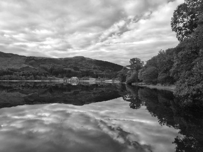 Loch Chon Nature Tranquil Scene Landscape Cloud - Sky Beauty In Nature IPhoneography Clouds And Sky Reflection Scotland Blackandwhite Water Reflections Snapseed Trossachs