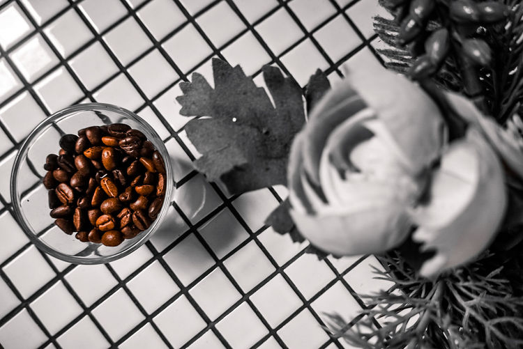High angle view of coffee in container