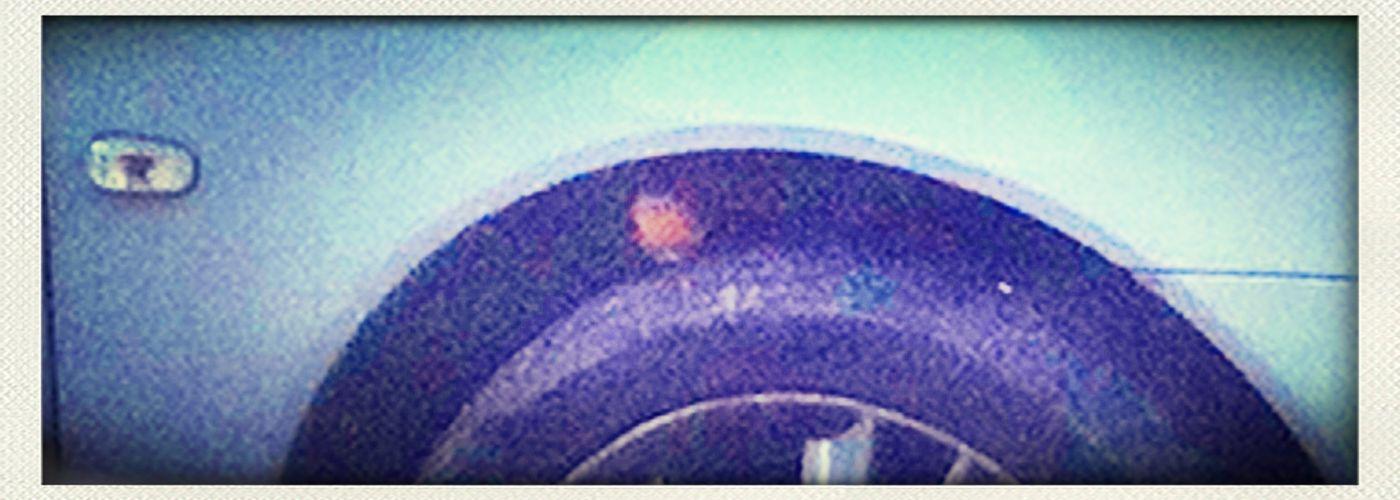 Robin in my wheel arch Saab