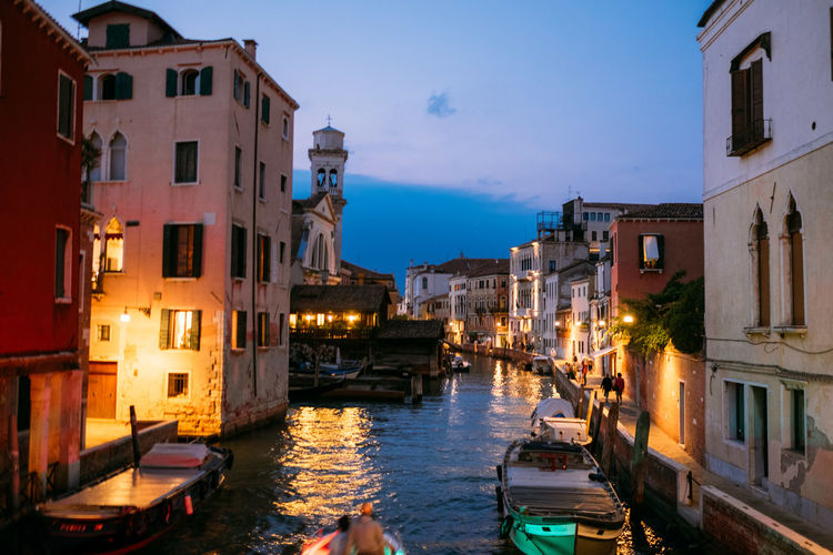 Venice Building Exterior Architecture Water Nautical Vessel Canal Built Structure Transportation City Mode Of Transportation Building Illuminated Residential District Nature Sky Moored No People Travel Destinations Gondola - Traditional Boat Reflection Outdoors