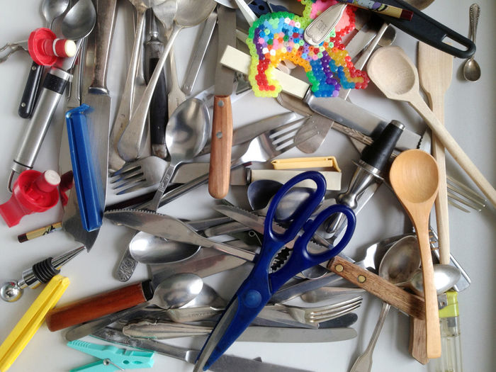 Chaos Clutter Cutlery Disarray Drawer Kitchen Kitchen Drawers Kitchen Utensils Mess Messy Scissors Spoon Untidy Wooden Spoon