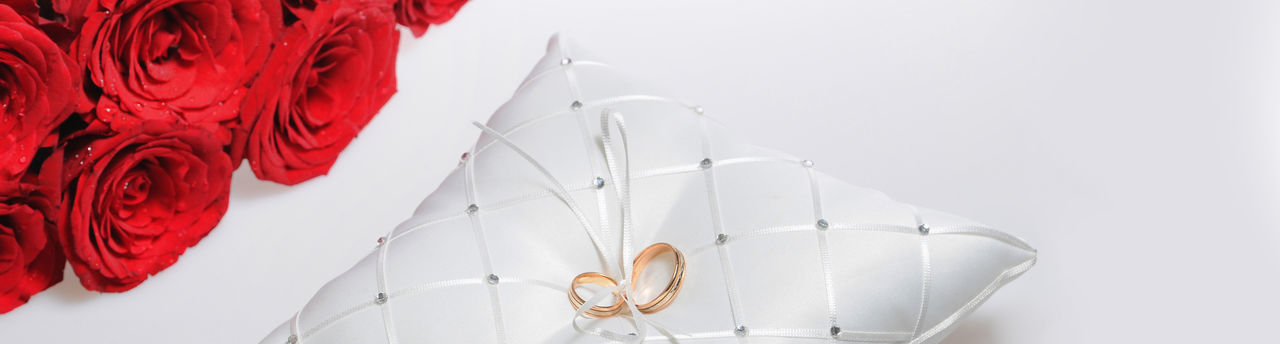 Rings Wedding Surprise Romance Love Luxury Holiday Golden Gold Pair Two Pillow Unity Symbol Concept Wife And Husband Day Especial Event No People Elégance Engagement Elegant Romantic Closeup Fashion Marriage  Beauty Beautiful Decoration Celebration White Golder Bright Bouquet Flowers Roses Red Background Banner Copy Cropped Design Header Horizontal Panorama Panoramic Space Text Wide