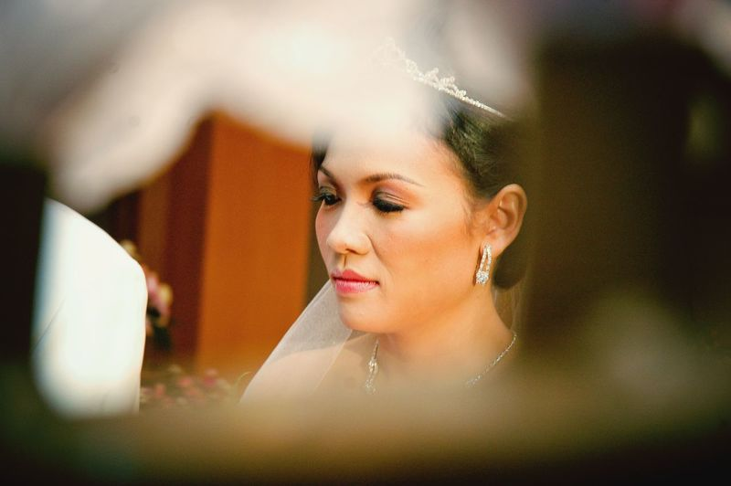 Close-up of bride looking away