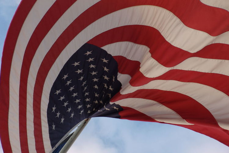 Close-up of flag against the sky