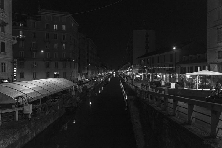 Naviglio Pavese, Milan Architecture Built Structure Night Building Exterior Illuminated City Transportation Building Street No People The Way Forward Direction Outdoors Street Light Nature Diminishing Perspective Mode Of Transportation Rail Transportation Railing Canal