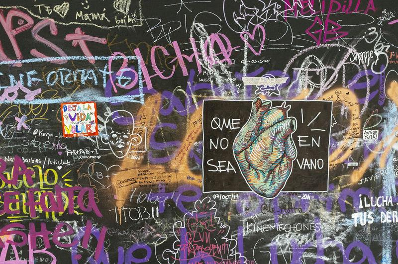 Full frame shot of graffiti on wall