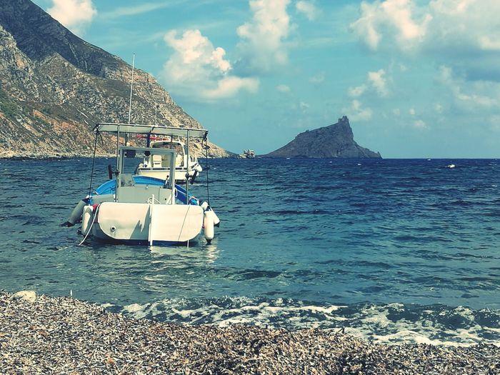 Marettimo Island Horizon Over Water Landscape Tranquility Sicily