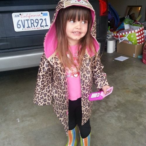 Black clouds daddy, I need my rain boots and jacket that doesn't match! My little fashionista! Audreysue