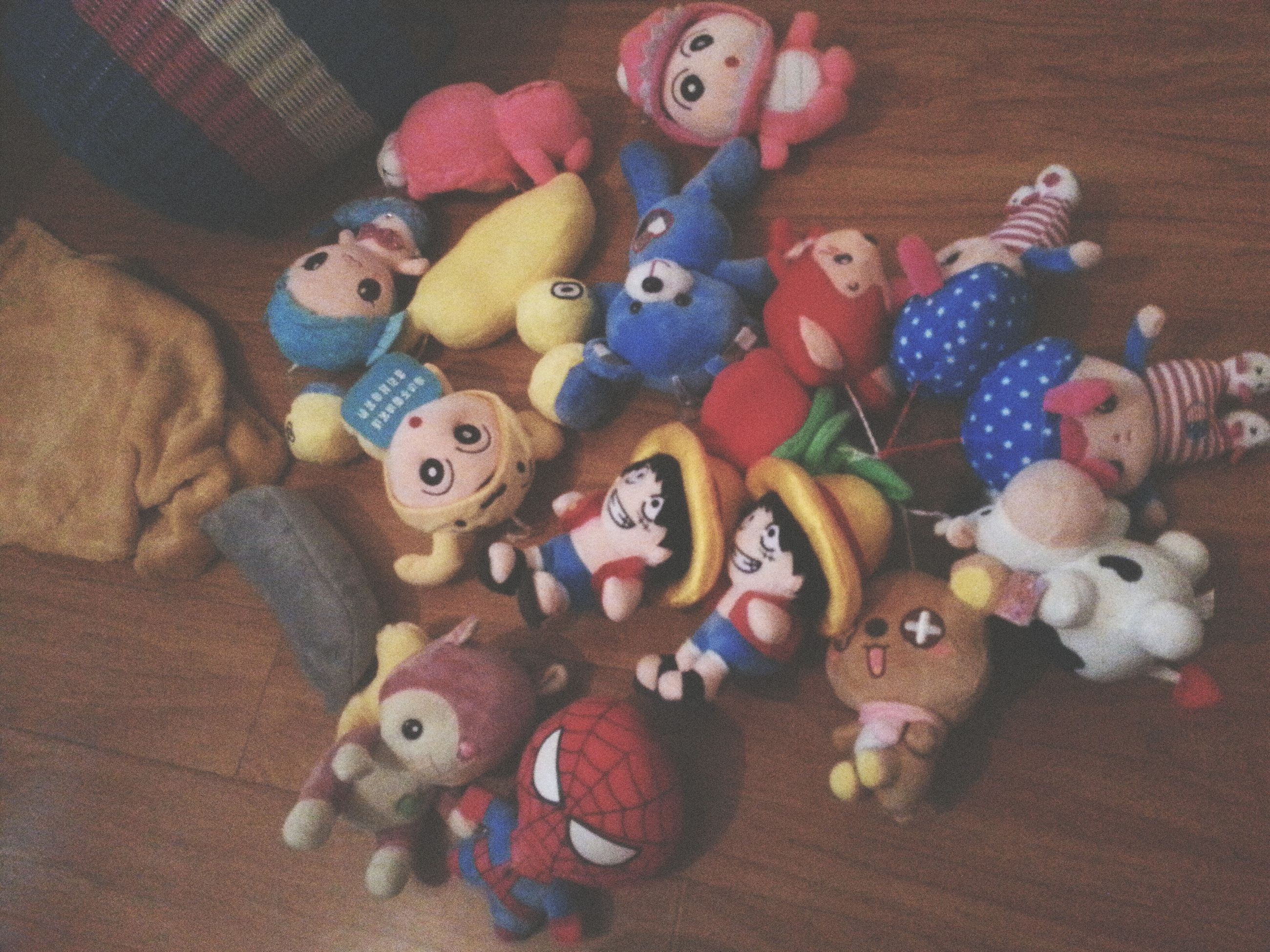 multi colored, toy, art and craft, animal representation, variation, creativity, art, childhood, human representation, high angle view, large group of objects, indoors, still life, stuffed toy, abundance, choice, decoration, no people, close-up, figurine