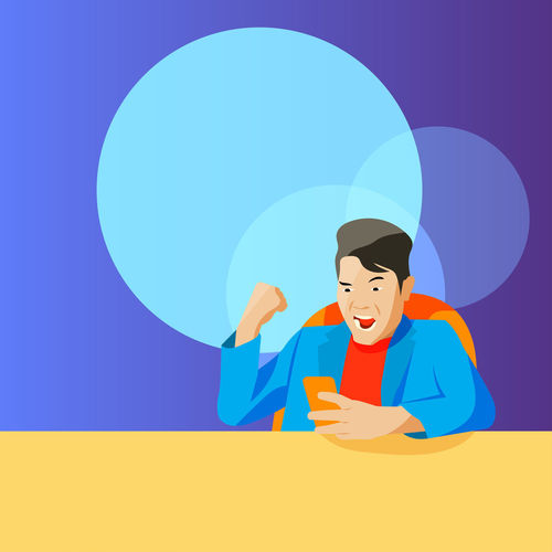 Digital composite image of man against blue background