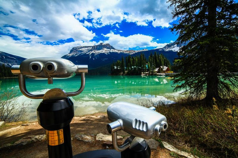Emerald Lake Mountain Emerald Lake Lake Cloud - Sky Sky Water Binoculars Plant Tree Nature Day Coin Operated No People Coin-operated Binoculars Outdoors Beauty In Nature Scenics - Nature Mountain Tranquility Security Tranquil Scene Architecture